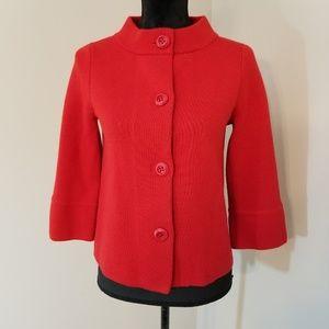 J Crew Red 3/4 Sleeve 100% Wool Cardigan S